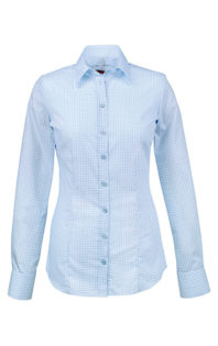 Greiff Premium Bluse Slim Fit - bleu gemustert