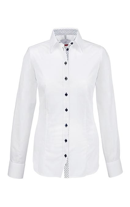 Greiff Premium Bluse Slim Fit - weiß kontrast blau