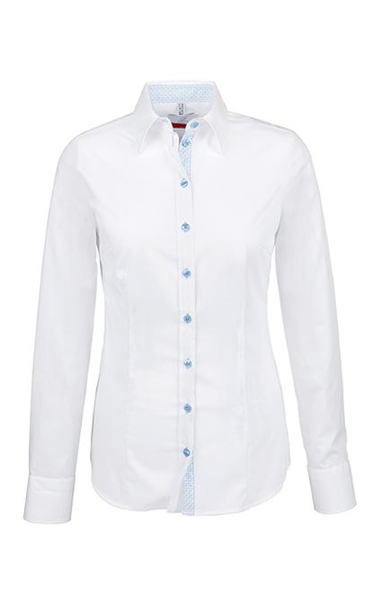 Greiff Premium Bluse Slim Fit - weiß kontrast bleu
