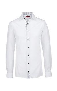Greiff Premium Hemd Slim Fit - weiß kontrast blau