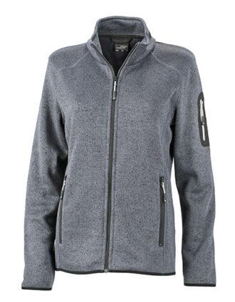 Ladies Knitted Fleece Jacket James & Nicholson - dark grey melange silver