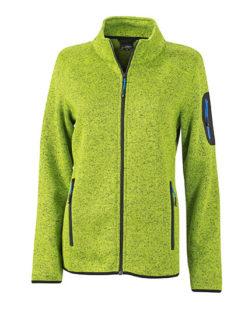 Ladies Knitted Fleece Jacket James & Nicholson - kiwi melange royal