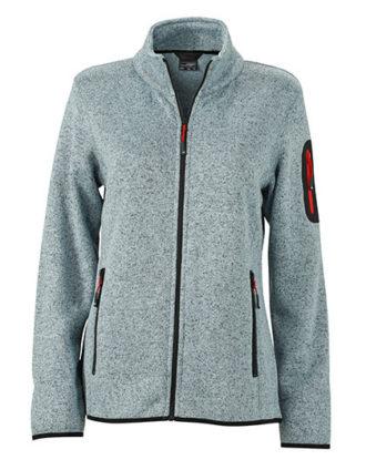 Ladies Knitted Fleece Jacket James & Nicholson - light grey melange red