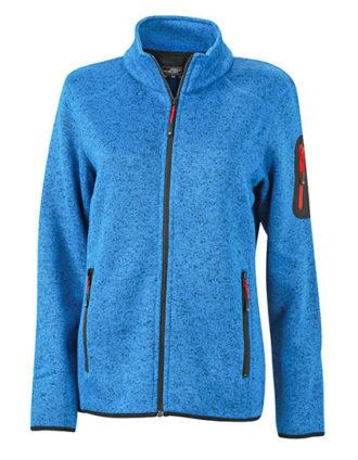 Ladies Knitted Fleece Jacket James & Nicholson - royal melange red