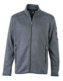 Mens Knitted Fleece Jacket James & Nicholson - dark grey melange silver