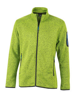 Mens Knitted Fleece Jacket James & Nicholson - kiwi melange royal