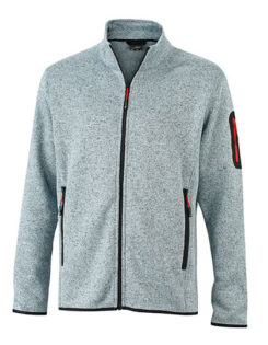 Mens Knitted Fleece Jacket James & Nicholson - light grey melange red
