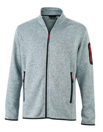 Mens Knitted Fleece Jacket James & Nicholson - light grey melange red