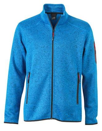 Mens Knitted Fleece Jacket James & Nicholson - royal melange red