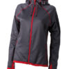 Ladies Hooded Fleece James & Nicholson - carbon red