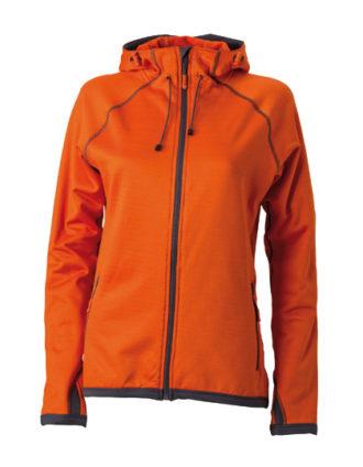 Ladies Hooded Fleece James & Nicholson - dark orange carbon