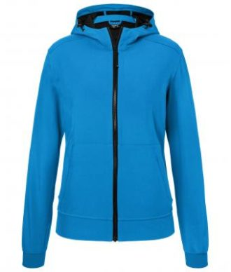 Ladies Hooded Softshell Jacket James & Nicholson - blue black