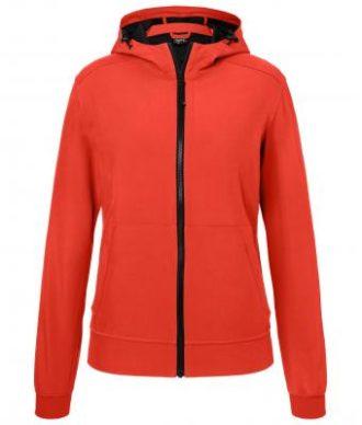 Ladies Hooded Softshell Jacket James & Nicholson - flame black