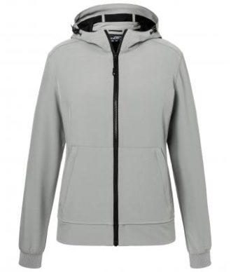 Ladies Hooded Softshell Jacket James & Nicholson - light grey black
