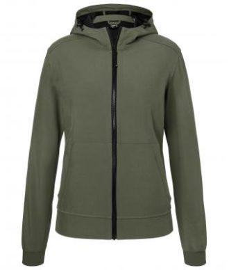 Ladies Hooded Softshell Jacket James & Nicholson - olive camouflage