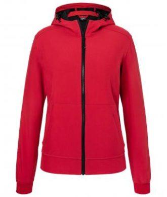 Ladies Hooded Softshell Jacket James & Nicholson - red black