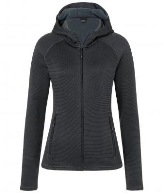 Ladies Hooded Stretchfleece Jacket James & Nicholson - black carbon