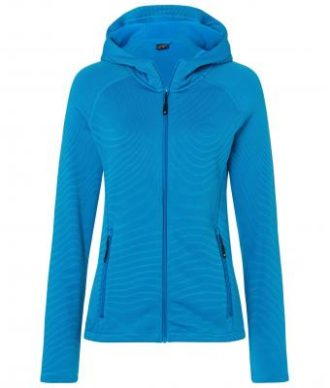 Ladies Hooded Stretchfleece Jacket James & Nicholson - bright blue navy