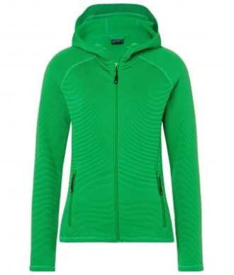 Ladies Hooded Stretchfleece Jacket James & Nicholson - ferngreen carbon