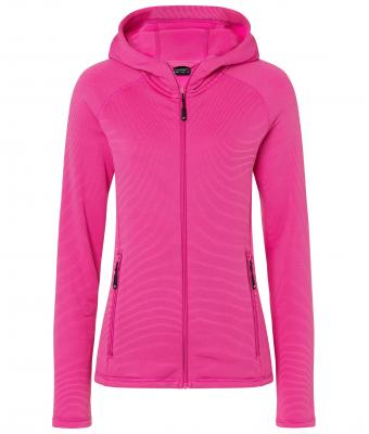 Ladies Hooded Stretchfleece Jacket James & Nicholson - pink magenta