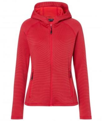 Ladies Hooded Stretchfleece Jacket James & Nicholson - red carbon