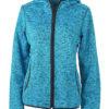 Ladies Knitted Fleece Hoody James & Nicholson - blue melange black