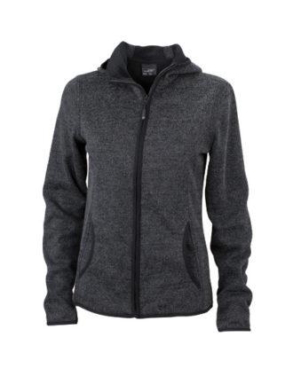 Ladies Knitted Fleece Hoody James & Nicholson - dark melange black