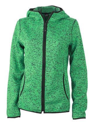 Ladies Knitted Fleece Hoody James & Nicholson - green melange black