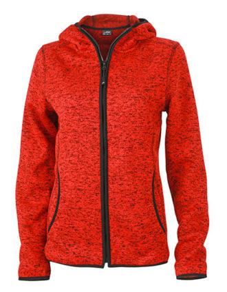 Ladies Knitted Fleece Hoody James & Nicholson - red melange black