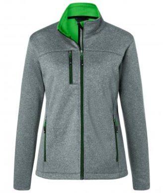 Ladies Melange Softshell Jacket James & Nicholson - dark melange green