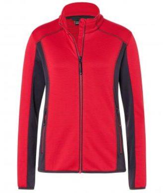 Ladies Structure Fleece Jacket James & Nicholson - red carbon