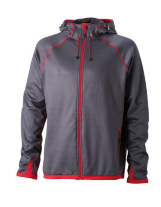 Mens Hooded Fleece James & Nicholson - carbon red