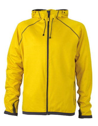Mens Hooded Fleece James & Nicholson - yellow carbon