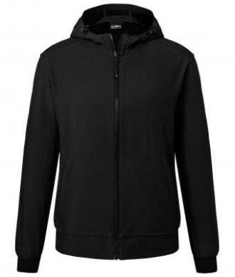 Mens Hooded Softshell Jacket James & Nicholson - black black