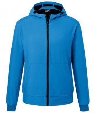 Mens Hooded Softshell Jacket James & Nicholson - blue black