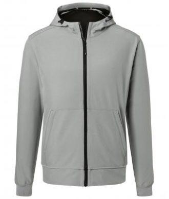 Mens Hooded Softshell Jacket James & Nicholson - light grey black