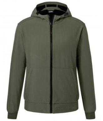 Mens Hooded Softshell Jacket James & Nicholson - olive camouflage