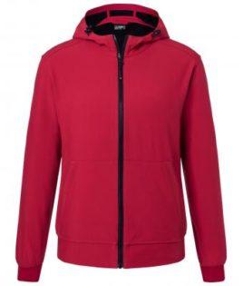 Mens Hooded Softshell Jacket James & Nicholson - red black