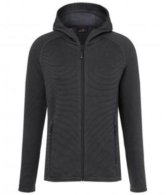 Mens Hooded Stretchfleece Jacket James & Nicholson - black carbon
