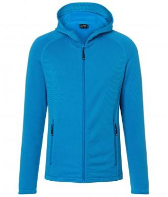 Mens Hooded Stretchfleece Jacket James & Nicholson - bright blue navy