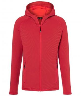 Mens Hooded Stretchfleece Jacket James & Nicholson - red carbon