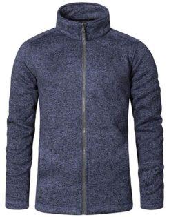 Mens Knit Fleece Jacket C+ Promodoro - heather blue