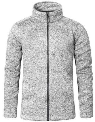 Mens Knit Fleece Jacket C+ Promodoro - heather grey