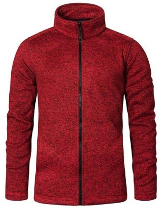Mens Knit Fleece Jacket C+ Promodoro - heather red