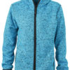 Mens Knitted Fleece Hoody James & Nicholson - blue melange black