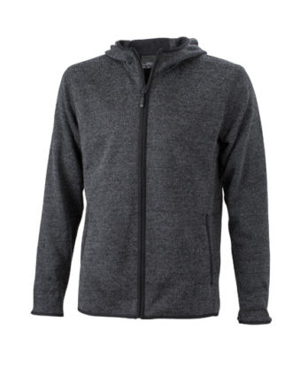Mens Knitted Fleece Hoody James & Nicholson - dark melange black