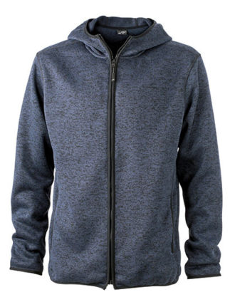 Mens Knitted Fleece Hoody James & Nicholson - denim melange black