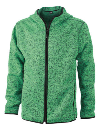 Mens Knitted Fleece Hoody James & Nicholson - green melange black