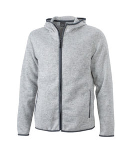 Mens Knitted Fleece Hoody James & Nicholson - light melange carbon