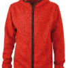 Mens Knitted Fleece Hoody James & Nicholson - red melange black